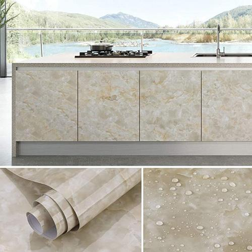 """(24  x 196 , Cream Yellow Gray) - Oxdigi Marble Contact Paper 60cm x 500cm Self Adhesive Peel & Stick Wallpaper for Kitchen Countertop Cabinet Furniture Waterproof PVC Removable Cream Size Name: 24"""" x 196""""Colour: Cream Yellow Gray"""