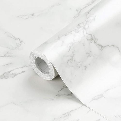 "(24  x 196 , White Black Gray) - Oxdigi Marble Contact Paper 60cm x 196  for Kitchen Countertop Cabinet Shelf Door Self-Adhesive Film Peel & Stick Wallpaper Waterproof Removable (Matt White Grey) Size Name: 24"" x 196""Colour: White Black Gray"