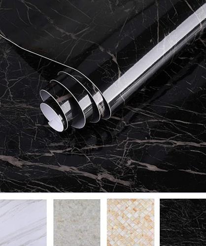 "(24  x 196 , Black) - Oxdigi Marble Contact Paper 60cm x 500cm Self Adhesive Peel & Stick Wallpaper for Kitchen Countertop Cabinet Furniture Waterproof PVC Removable Black Size Name: 24"" x 196""Colour: Black"