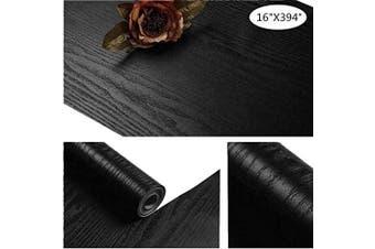 "(16""x394"") - Yancorp 16""x 1000cm Matte Black Grain Wood Textured Contact Paper Vinyl Film Self-Adhesive Wallpaper Shelf Liner Removable Peel-Stick Countertop (41cm x 1000cm )"