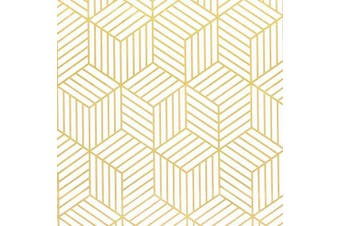 "(197 In X 17.7 In) - 17.7""x197"" White and Gold Geometry Stripped Hexagon Peel and Stick Wallpaper Gold Stripes Wallpaper White Contact Paper Removable Self Adhesive Vinyl Film Decorative Shelf Drawer Liner Roll"