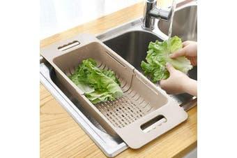 (Beige) - MineSign Collapsible Colander Fruits and Vegetables Drain Basket Adjustable Strainer Over the Sink for Kitchen (Beige)