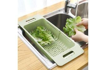 (Green) - MineSign Collapsible Colander Fruits and Vegetables Drain Basket Adjustable Strainer Over the Sink for Kitchen (Green)