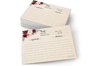 321Done Jumbo 5x7 Recipe Cards (Set of 50) Rustic Floral Double-Sided for Weddings, Bridal Shower - Large Watercolour Red Roses, Kraft Tan - Made in USA