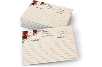 321Done Floral Recipe Cards (Set of 50) Rustic 10cm x 15cm - Double Sided Premium Card Stock - Made in USA - Large Watercolour Red Roses, Kraft Tan Notes From
