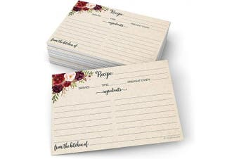 321Done Recipe Cards (Set of 50) Rustic Floral 10cm x 15cm - Double-Sided for Weddings, Bridal Shower - Made in USA - Large Watercolour Red Roses, Kraft Tan From the Kitchen Of