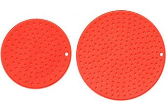 (Z-Solid-XL+L:Scarlet Red) - Extra Large, Extra Thick Silicone Trivet Mat Set For Hot Dishes - Silicone Hot Pot Holder for Table, Kitchen Hot Pads for Pots & Pans, Extra Large and Regular Sizes S/2 (Red)