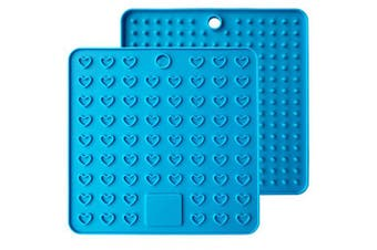 (Blue) - Emoly Heart-Shaped Silicone Trivet Mats Pot Holders Spoon Rest Coasters Heat Resistant Insulation Pad Kitchen Tool-Blue