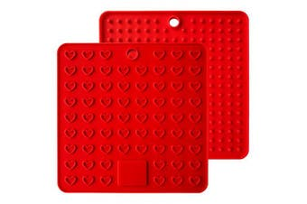 (Red) - Heart-Shaped Silicone Trivet Mats Pot Holders Spoon Rest Coasters Heat Resistant Insulation Pad Kitchen Tool-Red