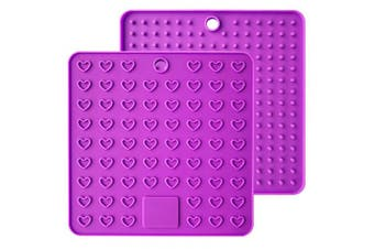 (Purple) - Emoly Heart-Shaped Silicone Trivet Mats Pot Holders Spoon Rest Coasters Heat Resistant Insulation Pad Kitchen Tool-Purple