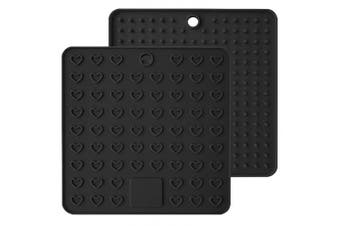 (Black) - Emoly Heart-Shaped Silicone Trivet Mats Pot Holders Spoon Rest Coasters Heat Resistant Insulation Pad Kitchen Tool-Black