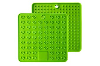 (Green) - Emoly Heart-Shaped Silicone Trivet Mats Pot Holders Spoon Rest Coasters Heat Resistant Insulation Pad Kitchen Tool-Green