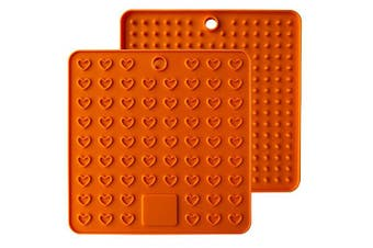 (Orange) - Emoly Heart-Shaped Silicone Trivet Mats Pot Holders Spoon Rest Coasters Heat Resistant Insulation Pad Kitchen Tool-Orange