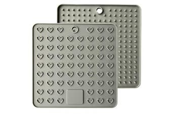 (Gray) - Emoly Heart-Shaped Silicone Trivet Mats Pot Holders Spoon Rest Coasters Heat Resistant Insulation Pad Kitchen Tool-Grey (Silicone pad)
