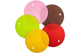 (5, Mixed Color) - Agole Extra Thick Silicone Trivet Mat, Hot Pads Non-Slip Silicone Insulation Mat for Home Use (Mixed Colour, 5pcs)
