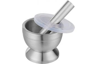 (Small) - WEZVIX 18/8 Stainless Steel Mortar and Pestle Set Masher Spice Grinder Pill Crusher Spice bowl herb bowl for Crushing Grinding Mixing