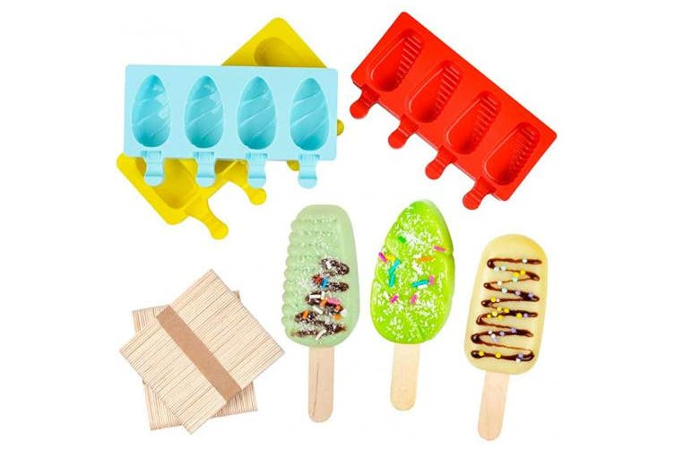 (Mul-Mix) - DIY Ice Cream pop maker Mould Homemade Popsicle Silicone Moulds with Lid, Silicone Ice Pop Mould with 100 Wooden Sticks,4 Cavities,Set of 3,MIX-3