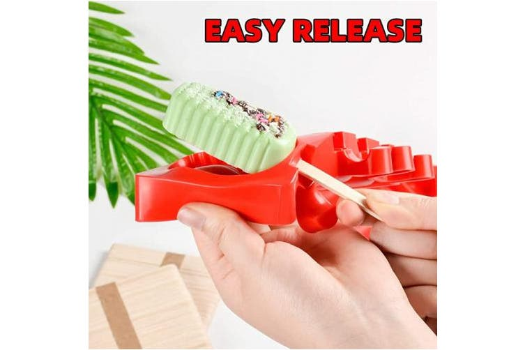 (Red) - DIY Ice Cream pop maker Mould Homemade Popsicle Silicone Moulds with Lid, Silicone Ice Pop Mould with 100 Wooden Sticks,4 Cavities,Set of 3,R-3