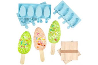 (Blue) - DIY Ice Cream pop maker Mould Homemade Popsicle Silicone Moulds with Lid, Silicone Ice Pop Mould with 100 Wooden Sticks,4 Cavities,Set of 3,B-3