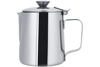 (350ml) - Stainless Steel Milk Frothing Pitcher Coffee Cup with Cover for Home Latte Art(350ml)