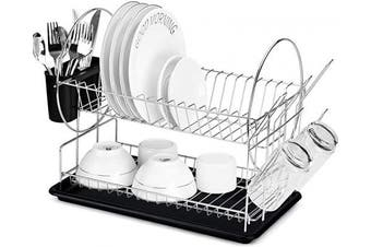 (2-Tier dish rack) - Glotoch Dish Drying Rack, 2 Tier Dish Rack with Utensil Holder, Cup Holder and Dish Drainer for Kitchen Counter Top, Plated Chrome Dish Dryer Silver 15 x 33cm x 20cm Black