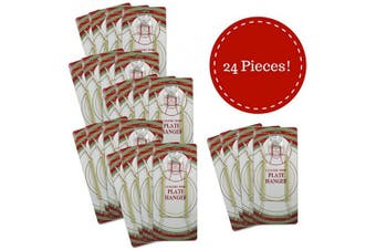 (24) - Banberry Designs Brass Vinyl Coated Plate Hanger 5 to 18cm Plates - Set of 24 - Includes Hook and Nail for Hanging