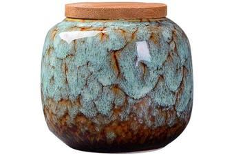(Light Blue) - Exquisite Oriental Ceramic Food Storage Jar Canister Food Canisters,Loose Tea Tin/Tea Storage/Tea Caddy/Tea Canister/Coffee Canister/Coffee Jar/Spice Nuts Snacks Storage 70ml/66g (Light blue)