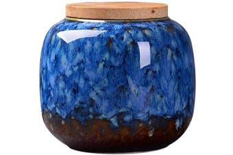 (Dark Blue) - Exquisite Oriental Ceramic Food Storage Jar Canister Food Canisters,Loose Tea Tin/Tea Storage/Tea Caddy/Tea Canister/Coffee Canister/Coffee Jar/Spice Nuts Snacks Storage 70ml/66g (Dark blue)