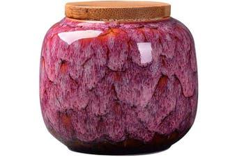(Rose wine) - Exquisite Oriental Ceramic Food Storage Jar Canister Food Canisters,Loose Tea Tin/Tea Storage/Tea Caddy/Tea Canister/Coffee Canister/Coffee Jar/Spice Nuts Snacks Storage 70ml/66g (Rose wine)