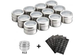 (12pcs) - Landw Magnetic Spice Tins,Stainless Steel Spice Jar Containers,Spice Jars Organiser,New Design Seasoning Organisers Includes 120 Labelling Stickers