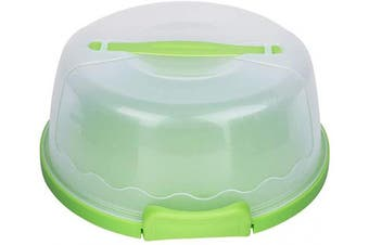 DEALPEAK 25cm Green Transparent Portable Round Cake Carrier Storage Container Server Locking with Lid Handle