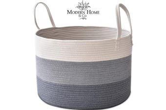(Fadding Grey) - Modern Home & Co XXL Cotton Rope Basket 20X13.3 Woven Baby Laundry Baskets Storage Bins,Thread Hamper Decorative Clothes Wicker Bin With Long Handles Extra Large For Blanket,Pillows,Toy,Coiled Grey