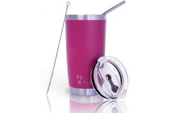 (590ml, Fuchsia) - 590ml Tumbler Double Wall Stainless Steel Vacuum Insulation Travel Mug with Crystal Clear Lid and Straw, Water Coffee Cup for Home,Office,School, Ice Drink, Hot Beverage,Fuchsia