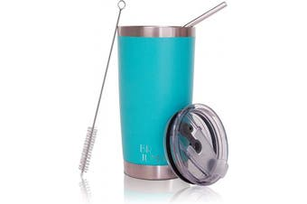 (590ml, Mint) - 590ml Tumbler Double Wall Stainless Steel Vacuum Insulation Travel Mug with Crystal Clear Lid and Straw, Water Coffee Cup for Home,Office,School, Ice Drink, Hot Beverage,Mint