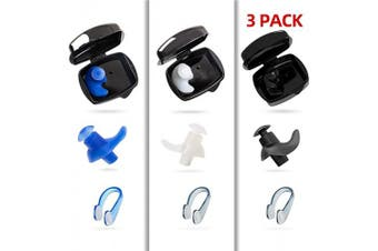 (Blue+White+Black Set) - COPOZZ Swim Earplugs & Nose Clips Set, Swimming Waterproof Silicone Reusable Ear Plugs & Non-Slip Training Nose Plugs for Surfing and Other Water Sports– Including Storage Case