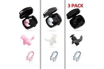 (Pink+White+Black Set) - COPOZZ Swim Earplugs & Nose Clips Set, Swimming Waterproof Silicone Reusable Ear Plugs & Non-Slip Training Nose Plugs for Surfing and Other Water Sports– Including Storage Case