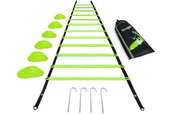 (H. Lime 12 Rung) - Yes4All Agility Ladder with Carry Bag Footwork Ladder - Multi Choices: 8, 12, 20 Rung and Combo with Agility Cones