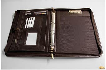Noda Faux Pu Leather Business Presentation Meeting Conference A4 Folder Ring Binder (Brown)