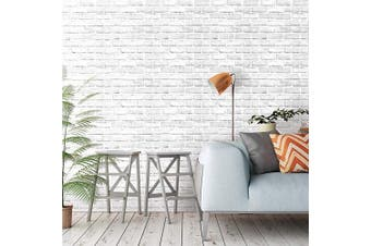 (90039) - Akea White Grey Brick Wallpaper 45cm x 600cm Self-Adhesive Removable Durable Peel and Stick Faux Brick Contact Paper Home Decoration