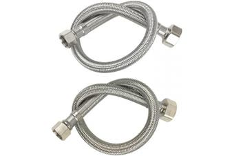 "(16Inch/41CM, 3/8"" x 1/2"" I.P) - Faucet Connector hose, Stainless Steel Braided Water Supply Line 3/8"" Female Compression Thread x 1/2"" FIP. Female Straight Thread,2 Pcs (1 Pair) 16 Inch/41CM"