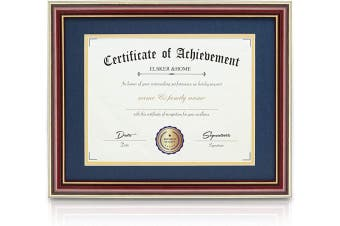 (Navy With Golden Rim) - ELSKER & HOME 11x 14 Document/Photo High Gloss Reddish Brown Wood Colour Frame - Made for Certificates Sized 22cm x 28cm with Mat and 28cm x 36cm Without Mat (Double Mat, Navy with Golden Rim)
