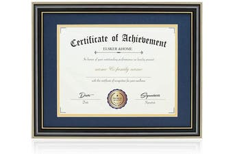 (Navy(golden Rim)) - ELSKER & HOME 11x 14 Document/Photo High Gloss Black Wood Colour Frame - Made for Certificates Sized 22cm x 28cm with Mat and 28cm x 36cm Without Mat (Double Mat, Navy with Golden Rim)