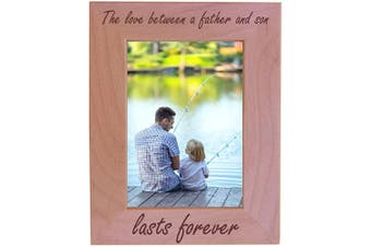 (13cm  x 18cm  Vertical) - CustomGiftsNow The Love Between A Father and Son Lasts Forever Natural Alder Wood Engraved Tabletop/Hanging Photo Picture Frame (13cm x 18cm Vertical)