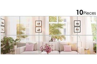 (20cm  x 20cm ) - BBTO 10 Pieces Mirror Sheets Self Adhesive Non Glass Mirror Tiles Wall Sticky Mirror (20cm x 20cm )