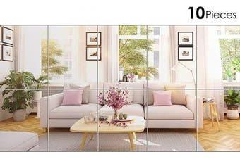 (20cm  x 25cm ) - BBTO 10 Pieces Mirror Sheets Self Adhesive Non Glass Mirror Tiles Wall Sticky Mirror (20cm x 25cm )