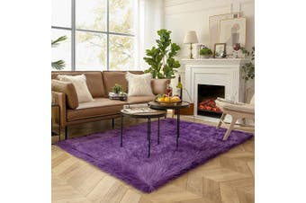(1.5m x 2.1m Rectangle, Purple) - Ashler Soft Faux Sheepskin Fur Chair Couch Cover Area Rug for Bedroom Floor Sofa Living Room Purple Rectangle 1.5m x 2.1m