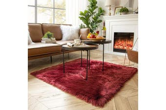 (4 x 0.4sqm, Dark Red) - Ashler Soft Faux Sheepskin Fur Chair Couch Cover Area Rug for Bedroom Floor Sofa Living Room Dark Red Square 1.2m x 1.2m