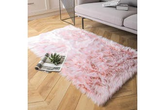 (0.9m x 1.5m Rectangle, Light Pink) - Ashler Soft Faux Sheepskin Fur Chair Couch Cover Area Rug Bedroom Floor Sofa Living Room Light Pink Rectangle 0.9m x 1.5m