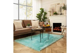 (1.2m x 1.8m Rectangle, Turquoise) - Ashler Soft Faux Sheepskin Fur Chair Couch Cover Area Rug for Bedroom Floor Sofa Living Room Turquoise Rectangle 1.2m x 1.8m