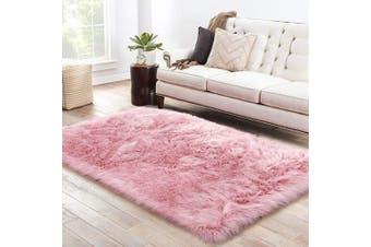 (0.9m x 1.5m, Pink) - LOCHAS Ultra Soft Fluffy Rugs Faux Fur Sheepskin Area Rug for Bedroom Bedside Living Room Carpet Nursery Washable Floor Mat, 0.9m x 1.5m Pink